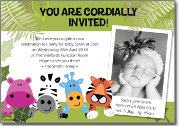 Partridge pear personalised baby full month gift full month jungle party card stopboris Choice Image